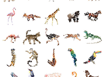 dotted animals imessage stickers